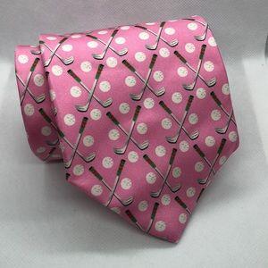 Angela Moore Golf Print Pink Silk Tie